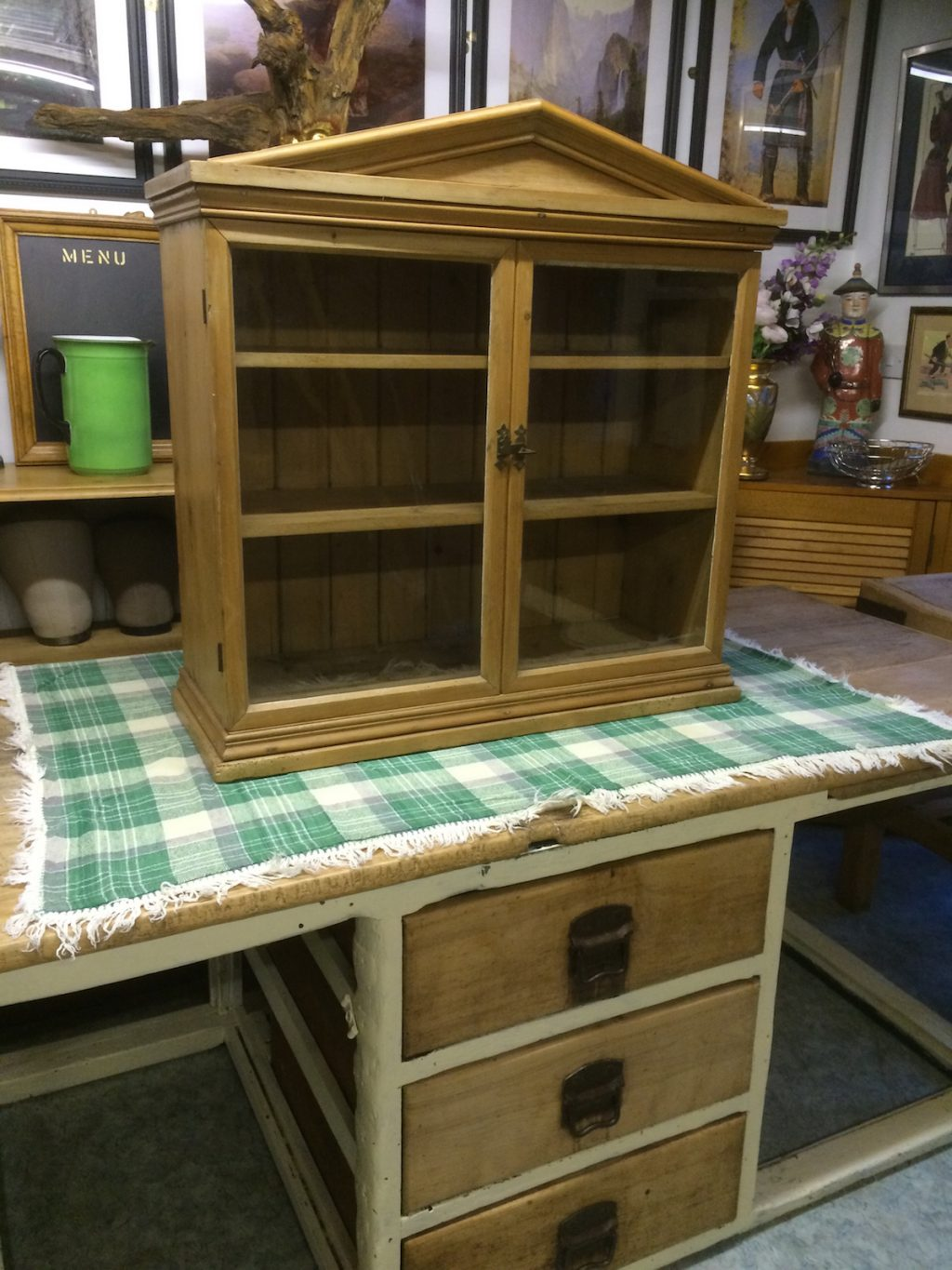 Old glazed pine shop countertop display unit
