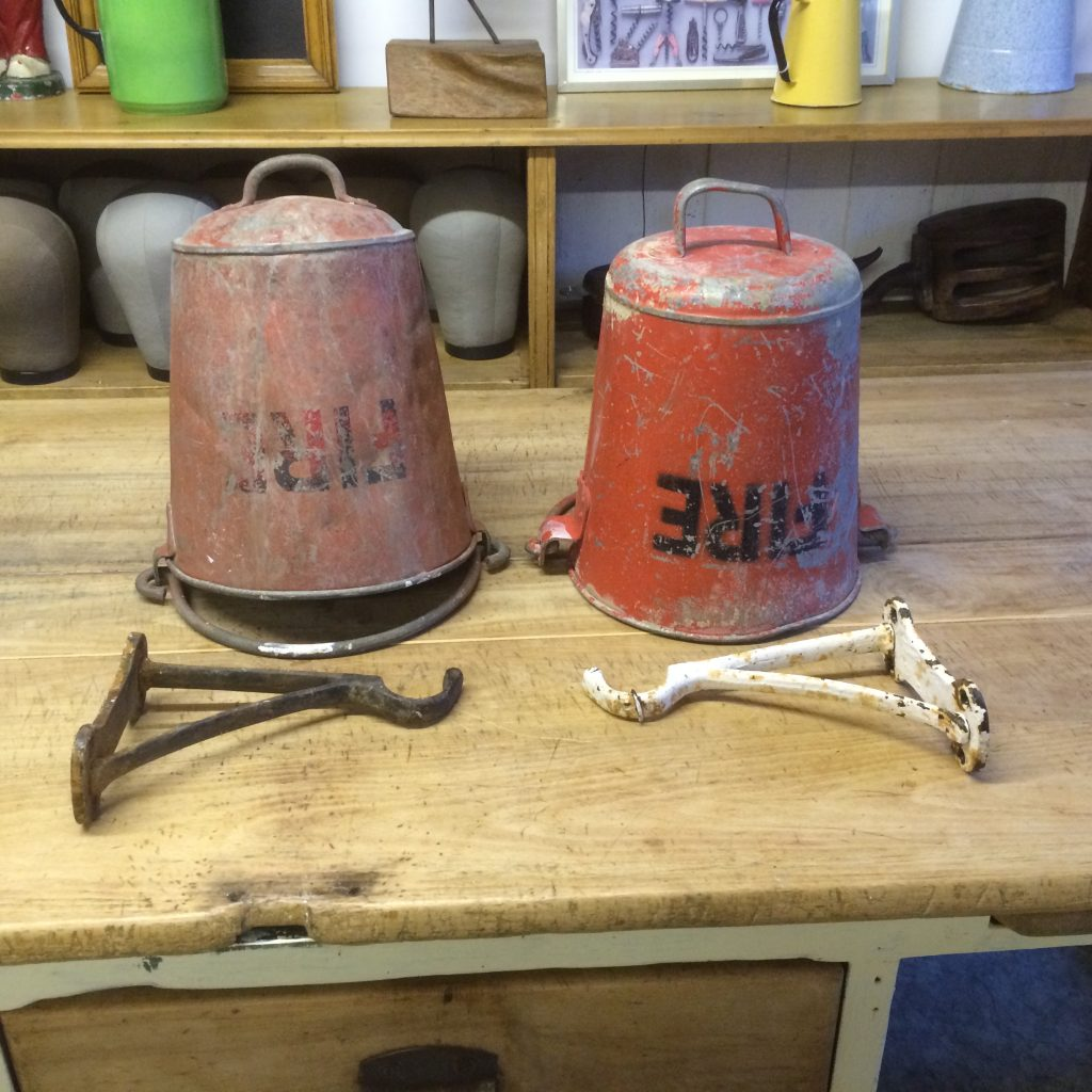 Pair of vintage 1930's fire buckets with original hanging brackets